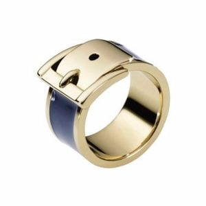 Michael Kors Gold/Navy Wide Buckle Ring - Size 7